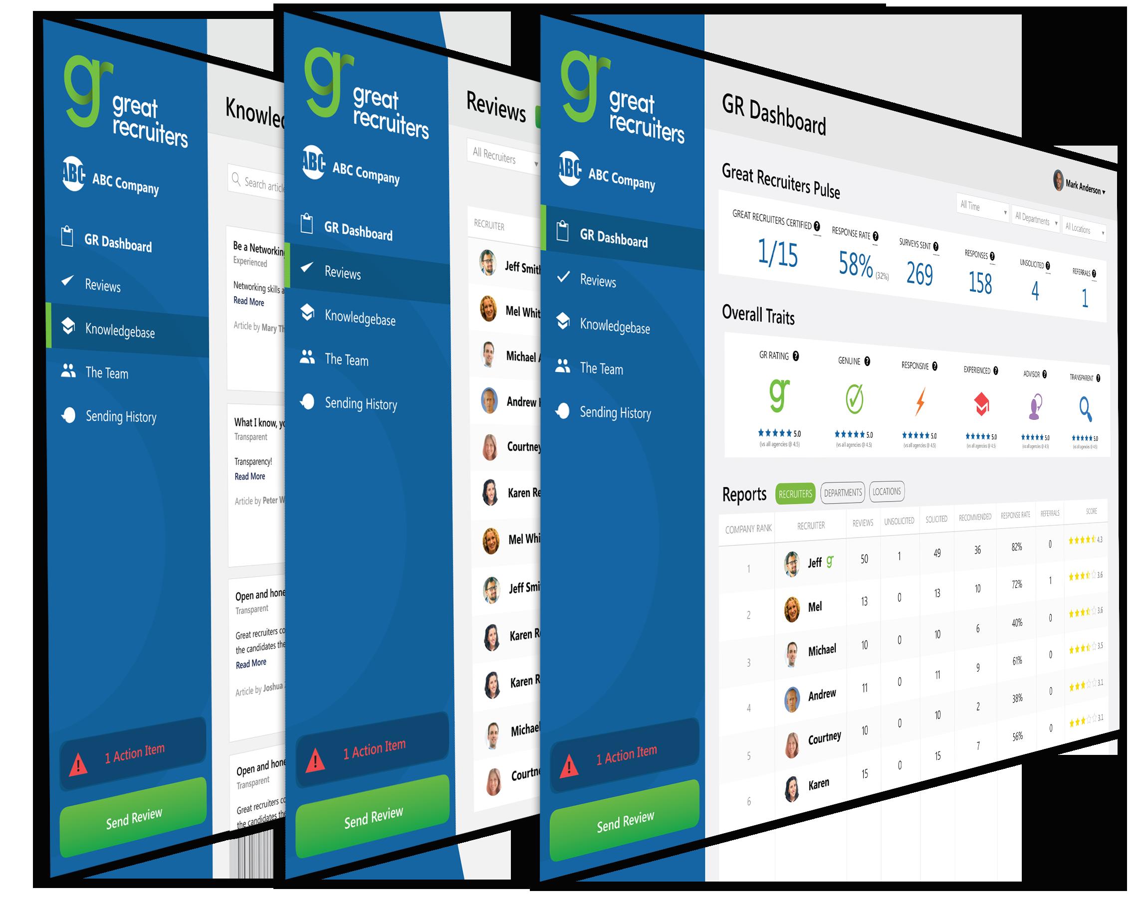 Great Recruiters Platform Screens